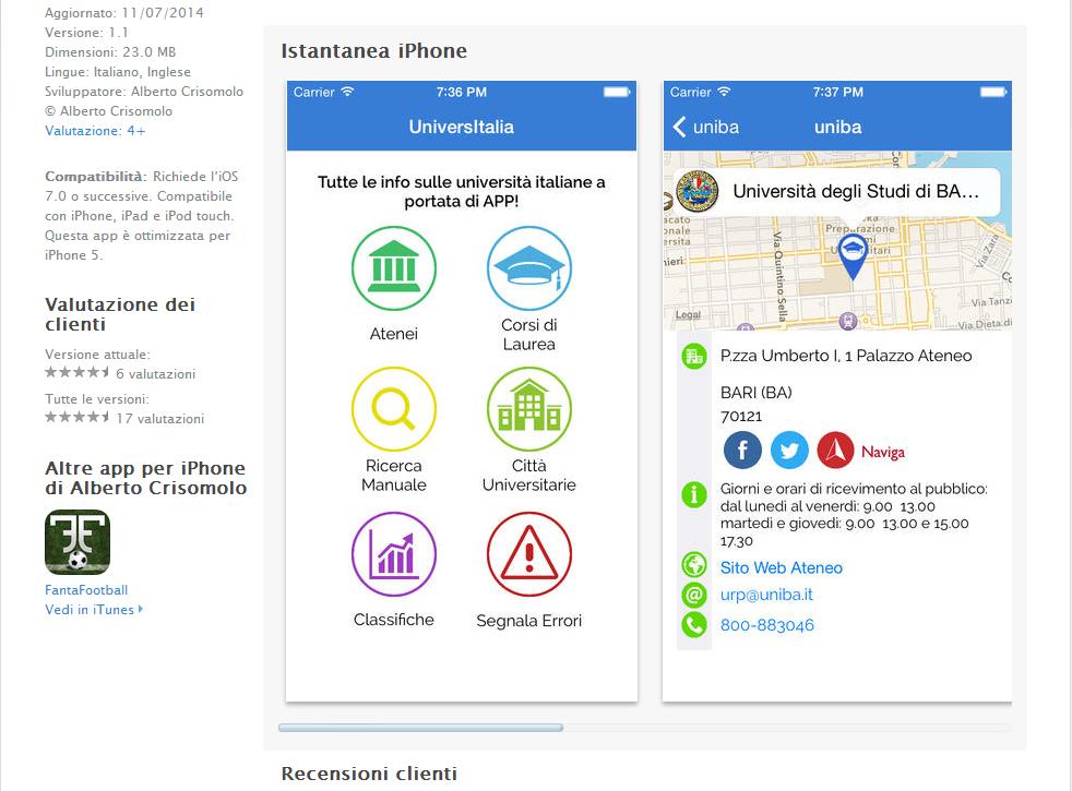 Universitalia, la pagina AppStore