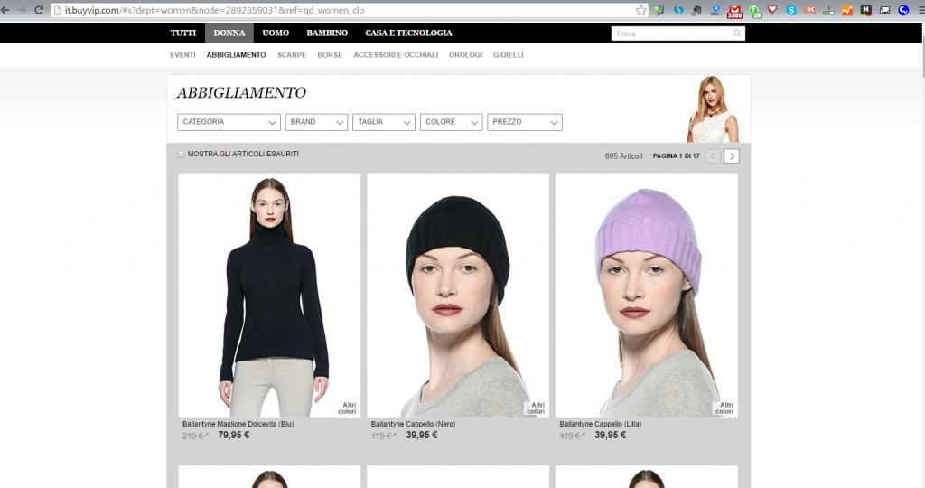 e-commerce di abbigliameno