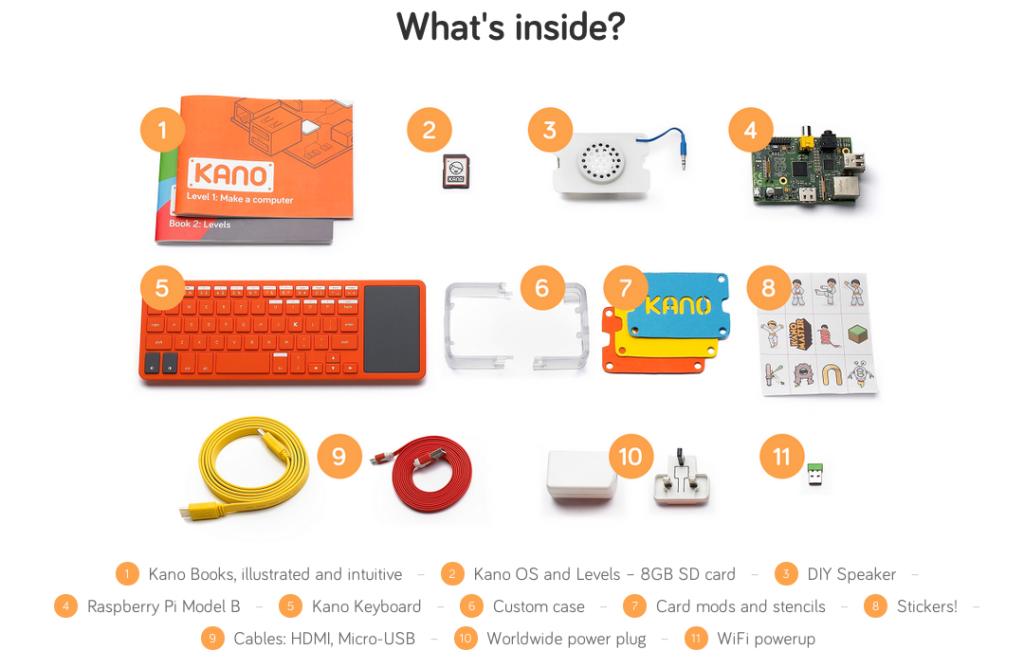 Il contenuto del Kano Kit, il primo computer che chiunque può costruire da solo