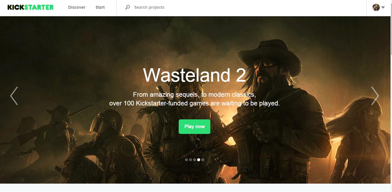 La hompage di Kickstarter