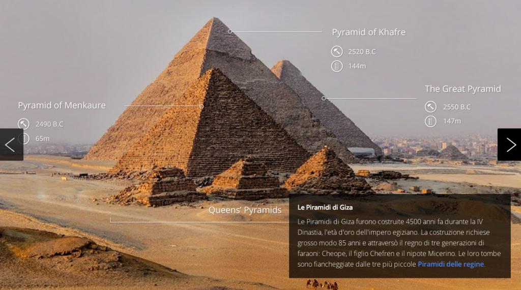 Un frame del trek sulle Piramidi di Giza