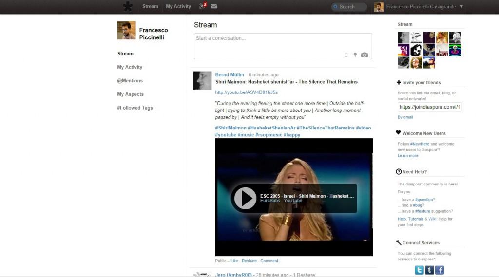Stream Diaspora, uno dei 5 social network spariti