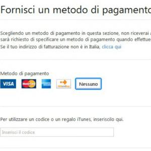 """Dopo aver creato il vostro account, scegliete """"nessuno"""" tra i metodi di pagamento proposti."""