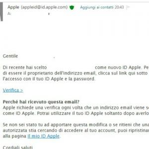 Una volta creato il vostro ID Apple, verificatelo tramite l'email che avete ricevuto.