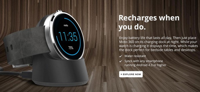 Motorola Moto 360 ricarica