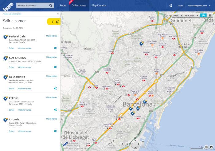Nokia Here mappa Barcellona