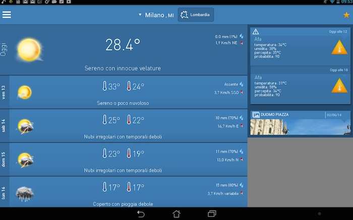 le migliori app meteo per android su smartphone e tablet 2015. Black Bedroom Furniture Sets. Home Design Ideas