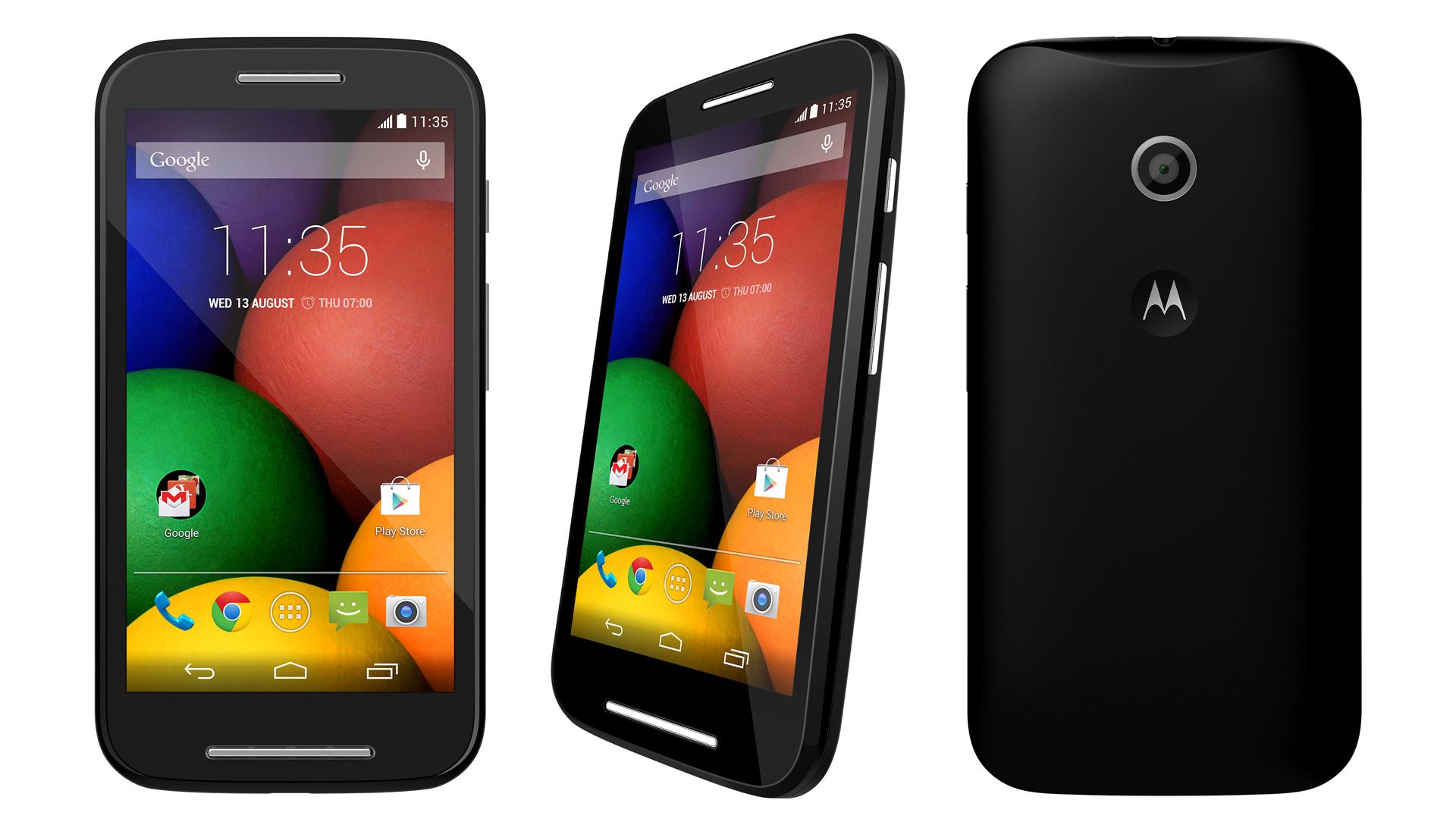 Motorola Moto E vista frontale e posteriore