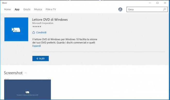 Windows 10 lettore DVD