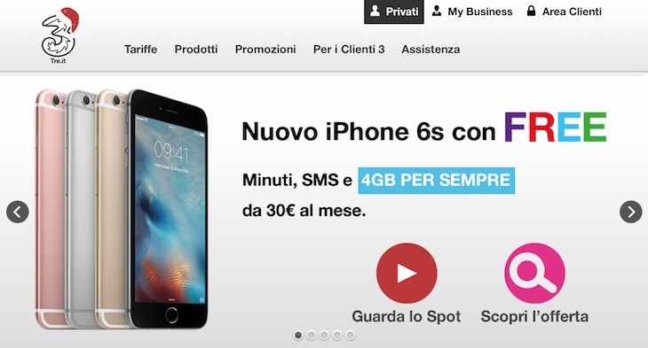 iPhone 6S e 6S Plus: Offerte e promozioni Tre Italia per Natale ...