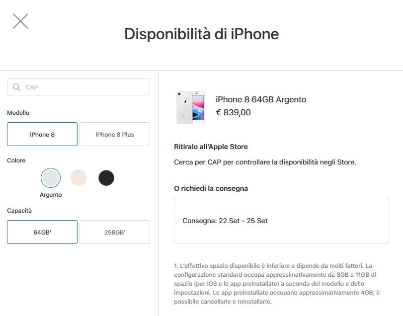 Uso del dispositivo iOS per verificarne lo spazio di archiviazione